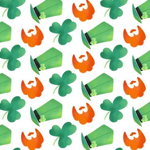 Lindo patrón irlandés con trébol, barba naranja y sombrero irlandés