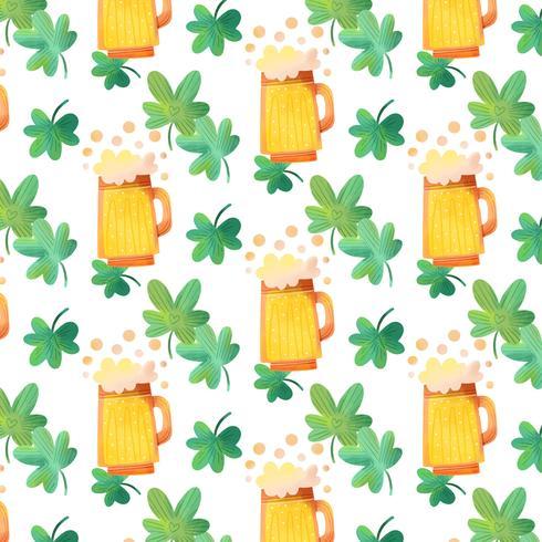 Schattig Iers patroon met bier, bubbels en klaverblaadjes