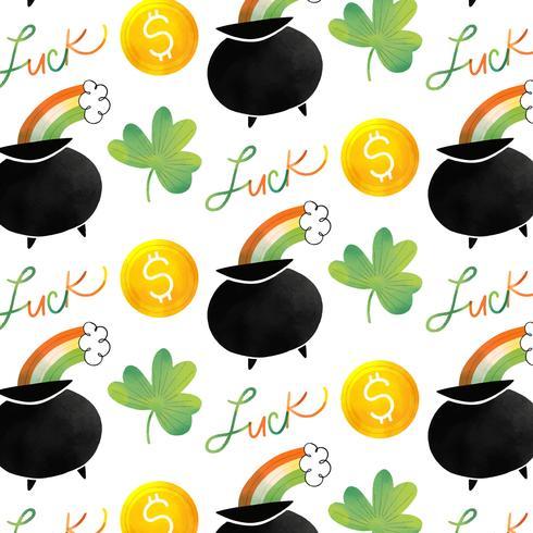 Teste padrão irlandês bonito com pote, o arco-íris, a moeda e o trevo irlandeses