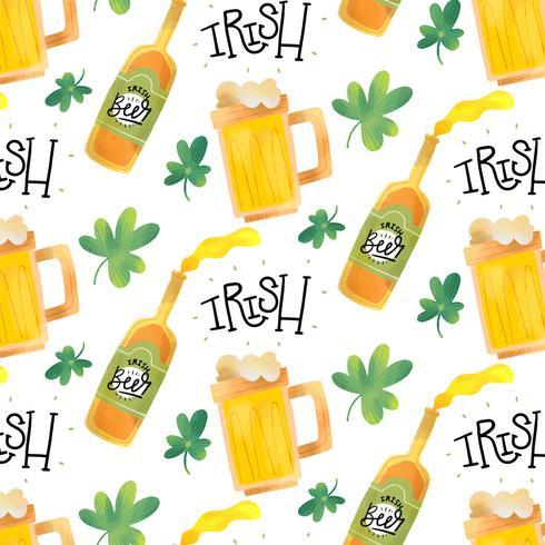 Carino modello irlandese con birra, tazza, trifoglio e lettering