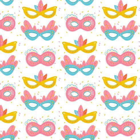 Padrão bonito com máscaras coloridas de carnaval