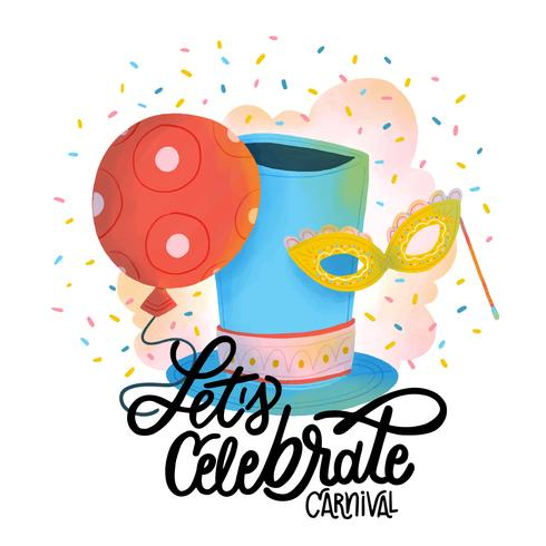 Schattig carnaval masker, feest hoed, rode ballon, confetti en belettering