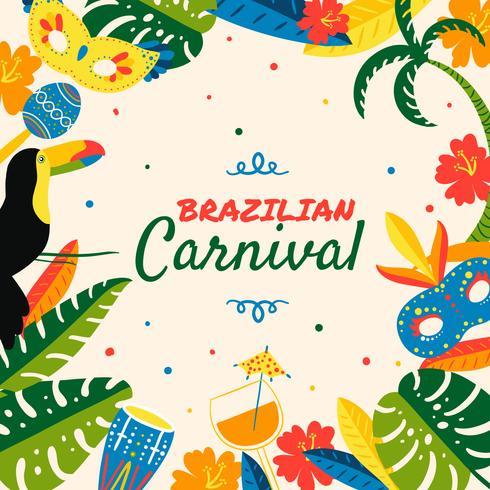 Lindo fondo de carnaval brasileño con hojas, máscara, maraca, flor y cócteles
