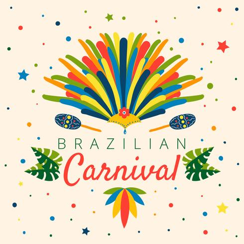 Colorful Brazilian Carnival With Leaves, Confetti, Maraca, Garota Hat And Feather vector