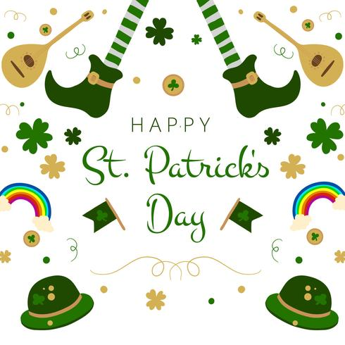 Chaussures irlandaises mignonnes, arc en ciel, trèfles, guitare et chapeau pour le jour de la Saint-Patrick