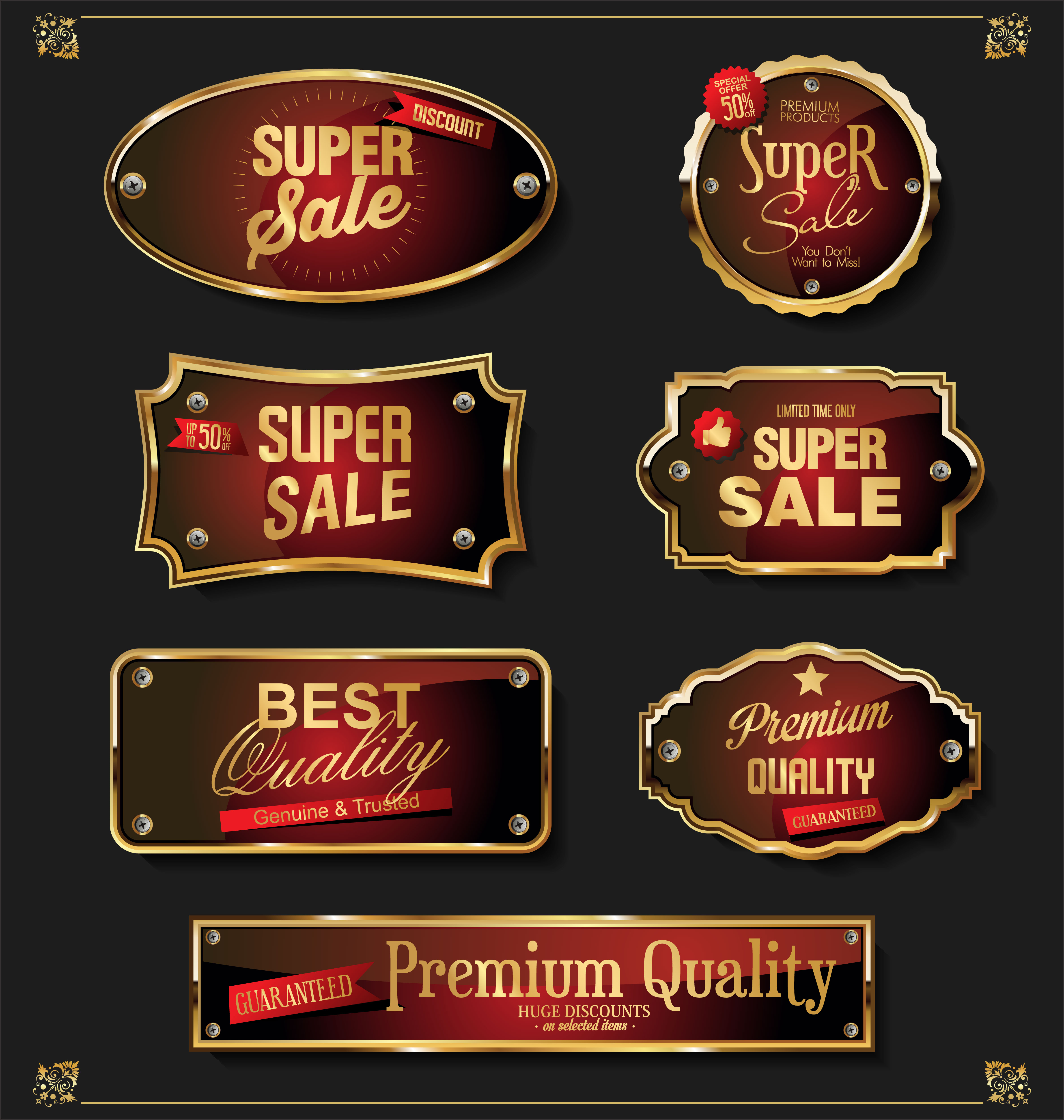 Premium Quality Badge And Banner Collection Vectors: Retro Vintage Black And Gold Badges And Labels Collection