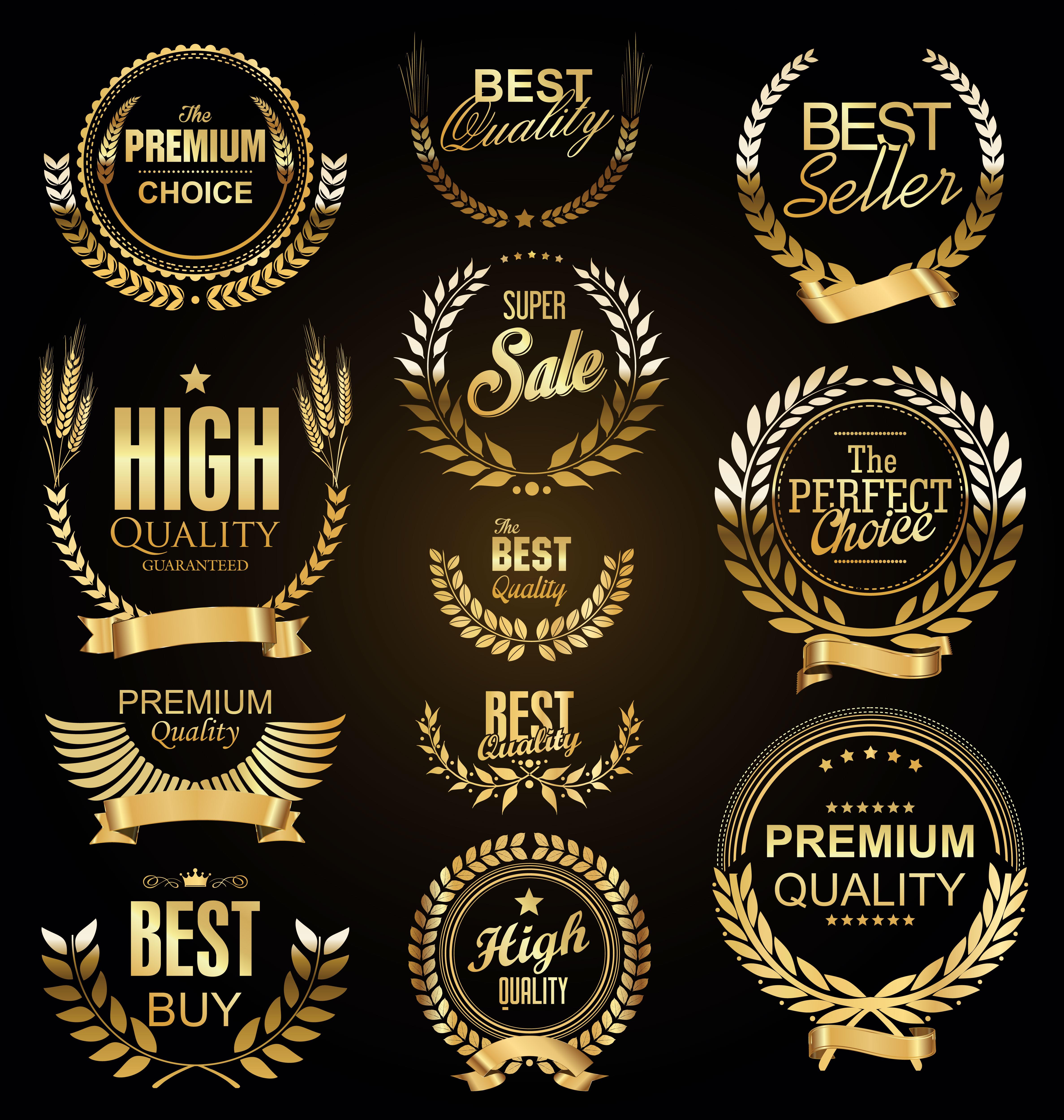 Premium Collection Badge Design: Retro Vintage Golden Laurel Wreaths Sale Collection Vector