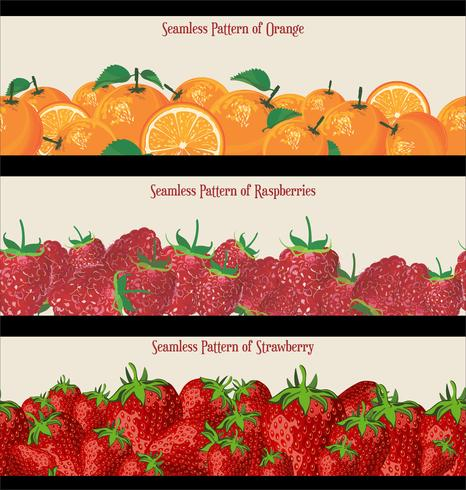 Seamless Pattern of Raspberries Strawberries and Oranges collection vector