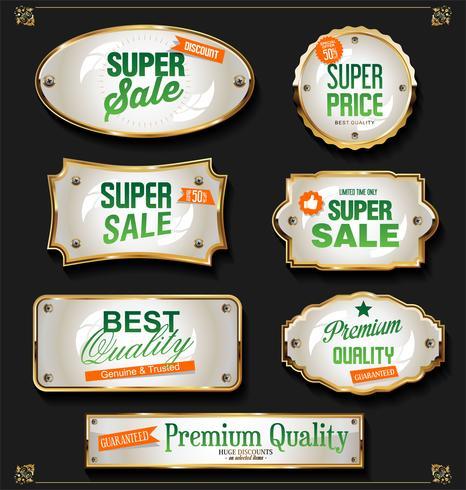 Retro vintage negro y oro insignias y etiquetas de colección