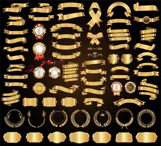 Rubans et bannières dorés vector icon set