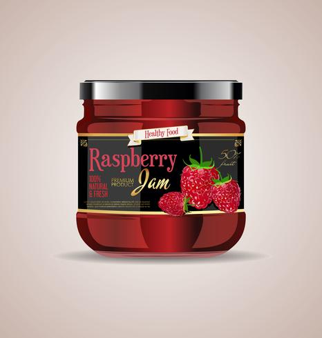 glass jar mockup raspberry jam package design