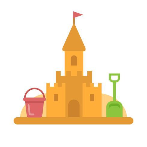 Castillo de arena con juguetes icono plana vector