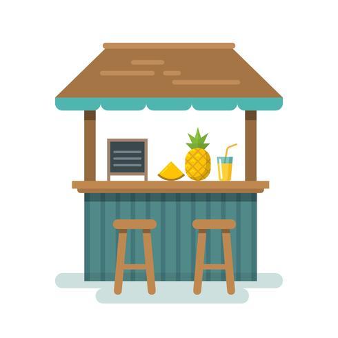 Ilustración plana bar de playa vector