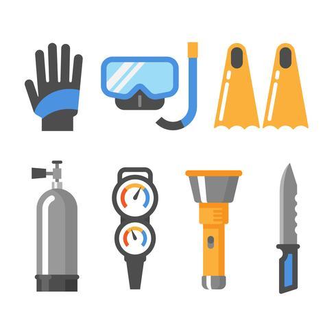 Dykutrustning platt ikonuppsättning. Handskar, mask, snorkel, fenor, lufttank, tryckmätare, ficklampa, kniv.