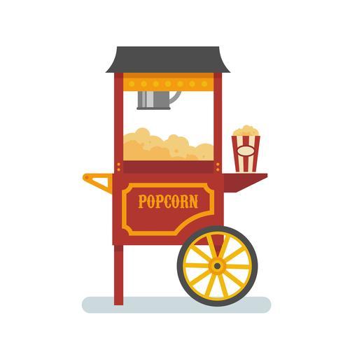 Ilustração plana de máquina de pipoca