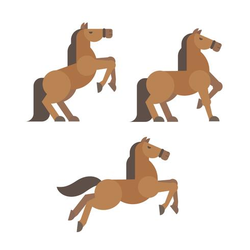 Horse poses flat illustration. Brown horse rearing, standing, running poses vector