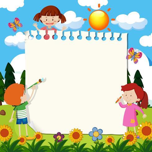 Note en papier avec des enfants dans le jardin