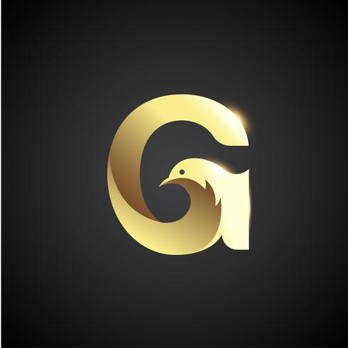 Gold Letter G With Dove Logo Concept vector