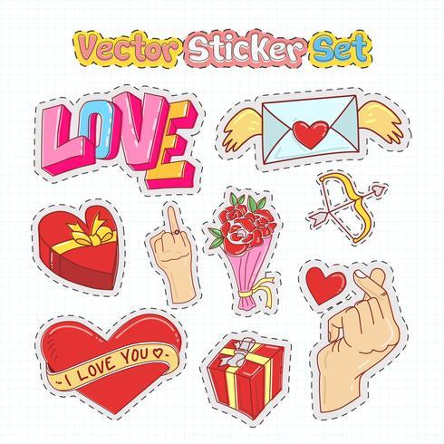 Día de San Valentín pegatina parches en estilo Doodle. Ilustracion vectorial vector