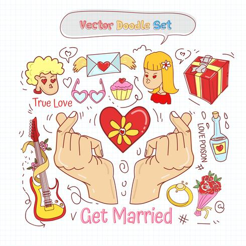 Valentinsdag Doodle Set Vector