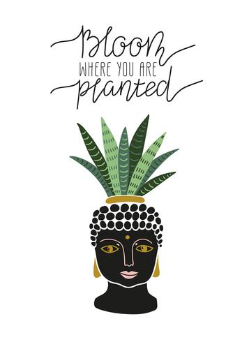 Hand drawn  tropical house plant in the pot with buddha face. Scandinavian style illustration, modern and elegant home decor.  vector