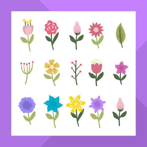 Coleção moderna plana Clipart de flor