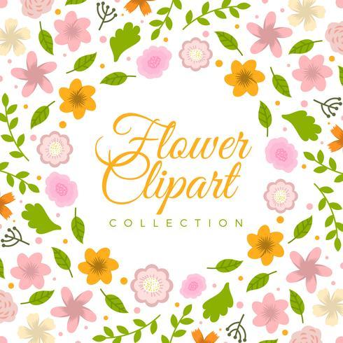 Coleção de Clipart de flor colorida plana