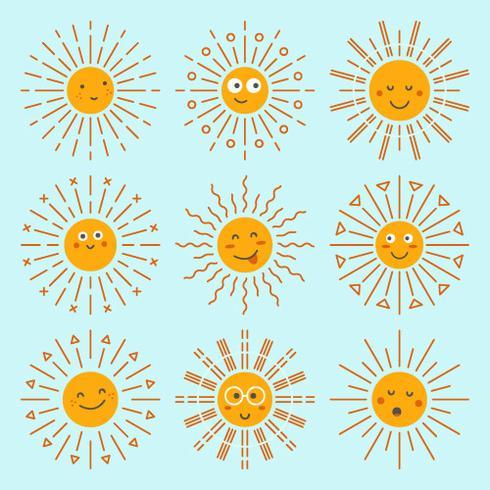 Emoticon Sun Collection Vector