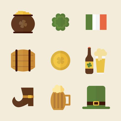St Patrick's Day Icons With Shadows
