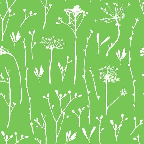 Vector sin patrón con siluetas de flores y hierba