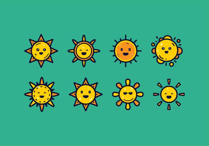 Sun Clipart Set Vektor