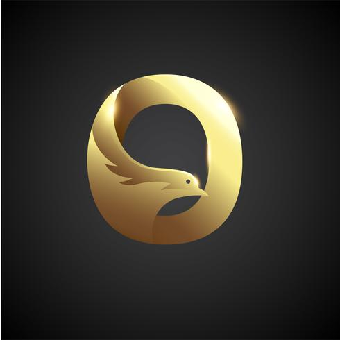 Gold Letter O With Dove Logo Concept