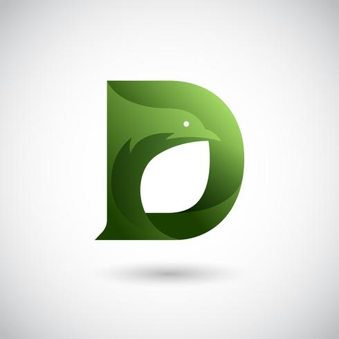 Letter D With Dove Logo Concept vector
