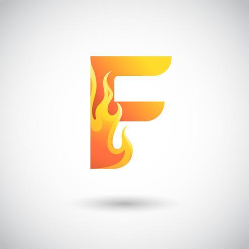 Letra F Con Concepto Logo De Fuego
