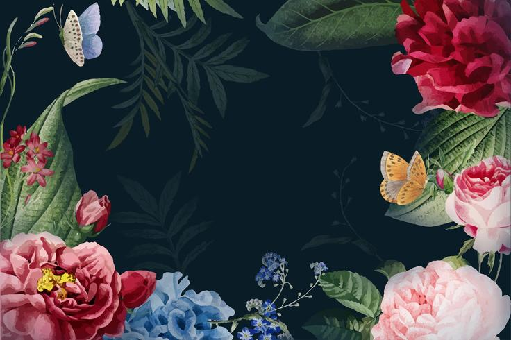 Illustration du cadre floral aquarelle