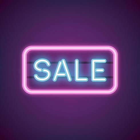 Vecteur de signe de vente au néon