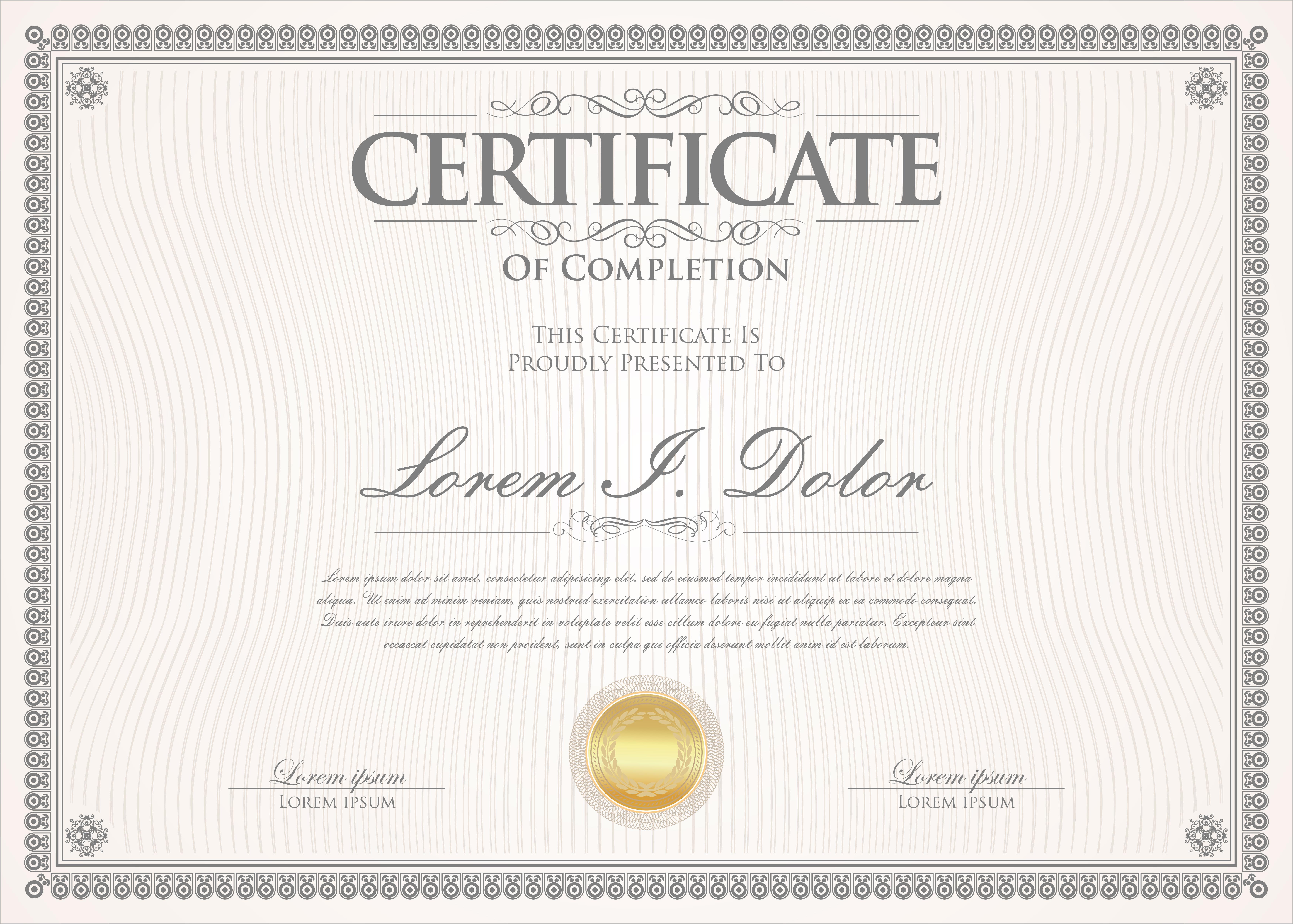 certificate vector template horizontal decorative diploma graphics