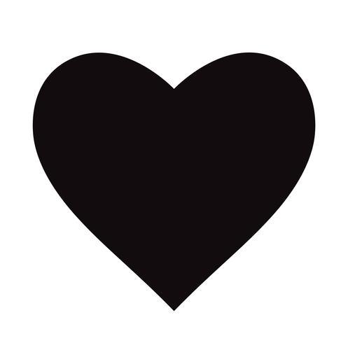 Icono negro plano del corazón aislado en el fondo blanco. Ilustracion vectorial