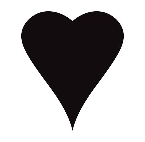 Icône de cœur plat noir isolé sur fond blanc. Illustration vectorielle