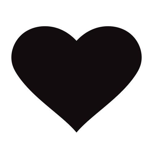 Ícone preto liso do coração isolado no fundo branco. Ilustração vetorial vetor