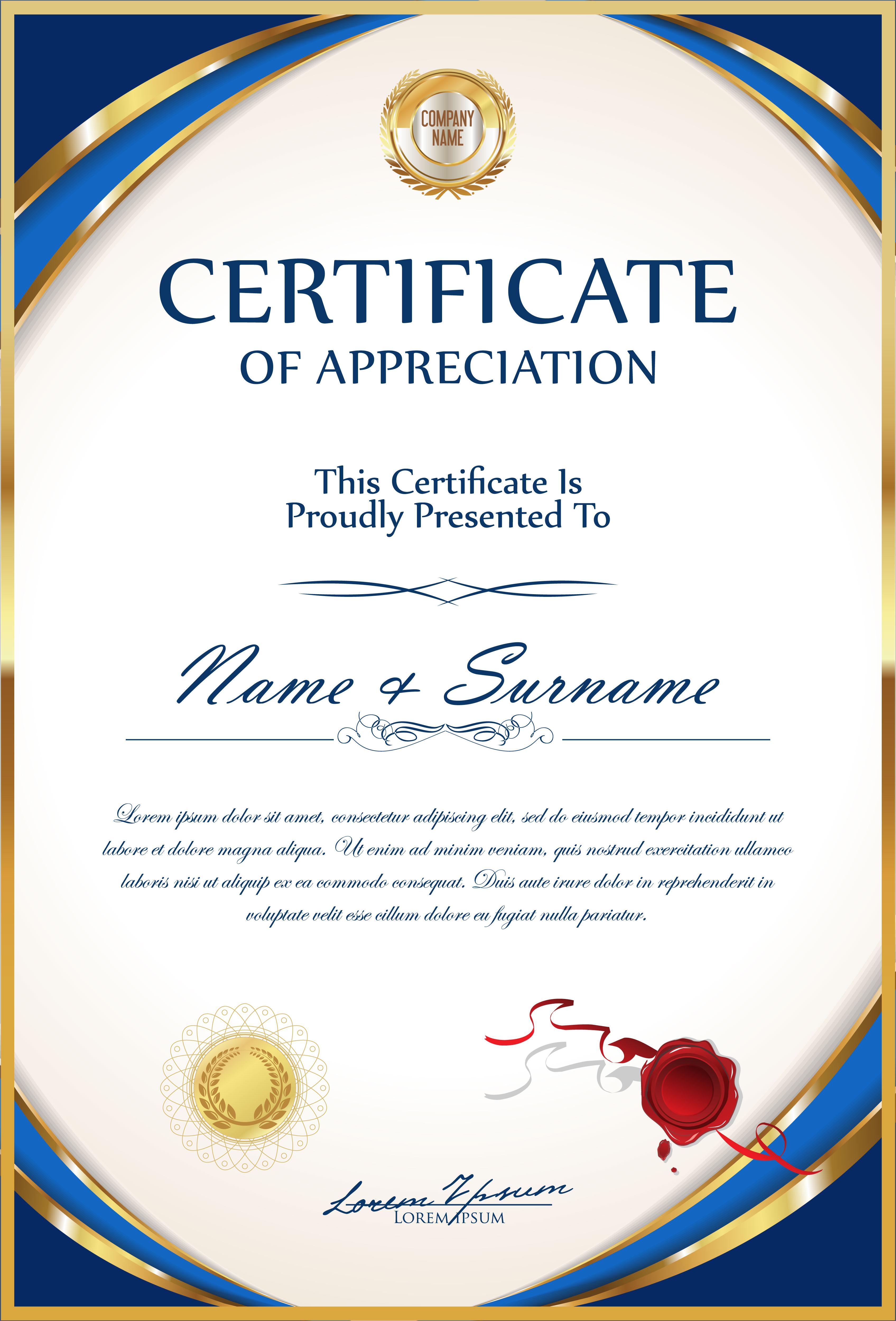 certificate vector diploma vecteezy template retro fancy illustration