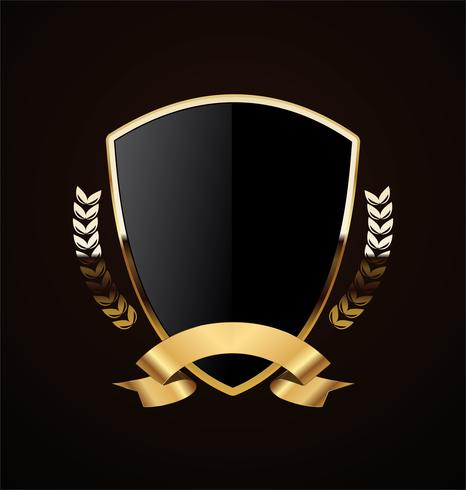 diseño retro escudo dorado