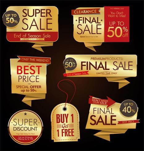 Vintage stijl verkoop Tags Design vector collectie