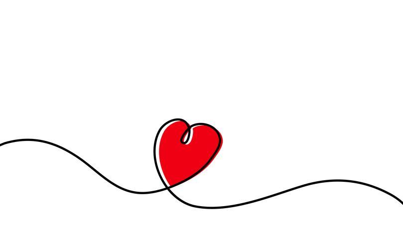Ununterbrochenes Federzeichnung des roten Herzens lokalisiert auf weißem Hintergrund. Vektor-Illustration