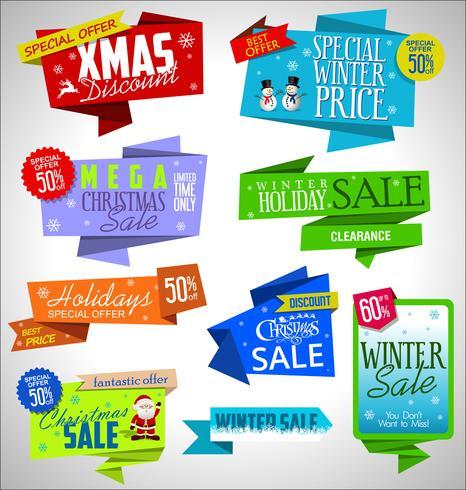 Collection de bannières et étiquettes de vente moderne origami