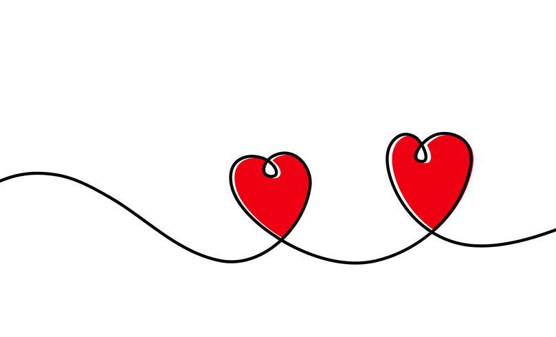 Kontinuerlig en rad ritning av rött hjärta isolerat på vit bakgrund. Vektor illustration