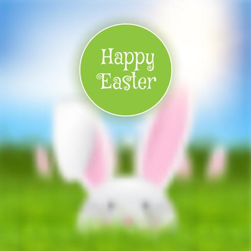 Fondo de Pascua con paisaje de conejo desenfocado