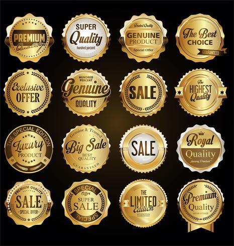 Collection d'illustration vectorielle insigne doré rétro