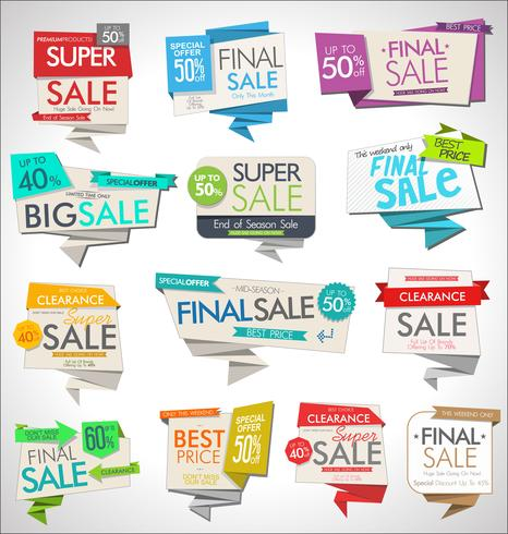 Collezione di banner ed etichette di vendita moderna vettore