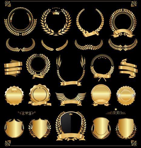 Insignia de oro retro vector ilustración colección
